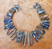 Blue Toned Tan White Agate Big Statement Necklace Huge Chunky Jewelry Usa Seller