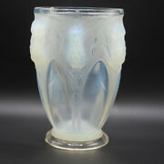 Vintage Verlys Signed Thistle Arches Opalescent Window Crystal Vase Art Deco