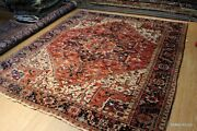 Antique Heris Rug 12and039 X10and039 Authentic Circa 1920and039s Wool Vintage Rust Color Rug
