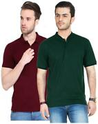 Funky Guys Pack Of Bottle Green And Maroon Polo T Shirts-dak