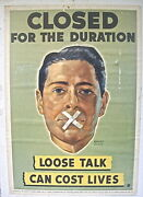 1942 Wwii Natl. Defense Poster Loose Talk Can Cost Lives Keep Mouth Closed