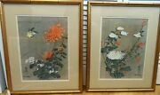 Chiu Weng Lithographs Birds And Blossoms 2 White And Orange Chrysanthemum