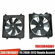 2pcs Ac Cooling Radiator Fan Left And Right Set For 2008-2012 Honda Accord 2.4l