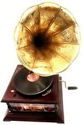 Gramophone Phonograph Crafted Brass Horn Tajmahal Sound Box With Needles