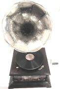 Gramophone Phonograph Silver Crafted Horn Tajmahal Sound Box With Needles