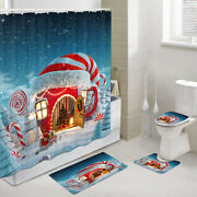 Christmas Style Igloo Shower Curtain Toilet Cover Rug Mat Contour Rug Set