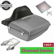 Charcoal Denim King Tour Pack Trunk Luggage For Harley Davidson Touring 97+