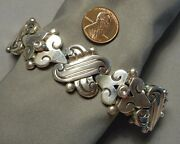 Signed 1940s Hector Aguilar Mexican .940 Silver Heavy Link Bracelet 108.77g