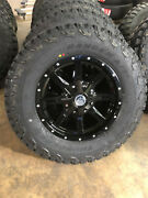17x8 Black A2 Off Road Wheels 32 265/70r17 At Tires 6x5.5 Chevy Suburban Tahoe