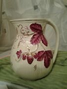 Antique Chesapeake Majolica 8.50 Inch Strawberry And Leave Pitcher Dvs