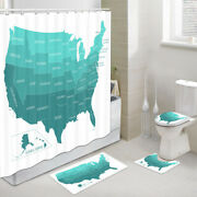 U.s. State Names And Locations Shower Curtain Toilet Cover Rug Mat Contour Rug Set