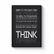Think Different Steve Jobs Office Quote Wall Art Print Poster Framed Or Canvas