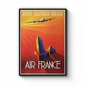 Air France Vintage Travel Advert Airline Wall Art Print Poster Framed Or Canvas