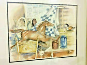 Country Primitives Watercolor Painting Horse Weathervane Decoy Antiques Signed