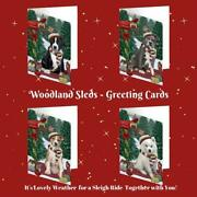 Woodland Sled Dog Cat Pet Lovers Christmas Greeting Invitation Card Pack Of 20