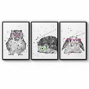 Set Of Cute Animals Nursery Baby Wall Art Print Poster Framed Or Canvas