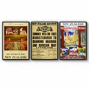 Set Of New Zealand Vintage Travel Advert Wall Art Print Poster Framed Or Canvas
