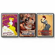 Set Of Vintage French Cafe Adverts Wall Art Print Poster Framed Or Canvas