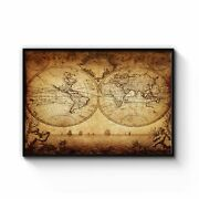 Vintage World Map Old Wall Art Print Poster Framed Or Canvas
