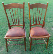 Pair Of Solid Oak Elm Dinette Chairs / Sidechairs Bm