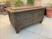 Ancient Fine Floral Hand Carved Rare Big Wooden Trunk Box Table 25 X 19 Big Box