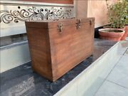 1800and039s Antique Wood Rare Hand Crafted Indian Military Beautiful Old Tool Box