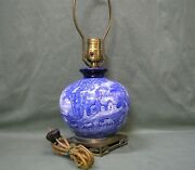 Vintage Coalport England Kings Ware Flow Blue And White Table Lamp