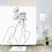 Line Drawing Lady And Flowers Shower Curtain Bathroom Decor Fabric And 12hooks 71