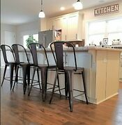 4 Rustic Bar Chairs Counter Height Dining Room Stools Bistro Kitchen Pub Vintage