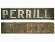 Mid-19th C American Antique Lg 2-sided B And W/gilt Pntd Wood Sign, Perrill/e.f.s.