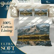 Mountain Lake Nature Rivers And Lakes Grey Quilt Cover Sets With 2x Pillow Shams