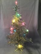 Vintage Silver Lighted Table Top Christmas Tree W Plastic Stand Italy