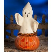 Bethany Lowe Large Ghost Coming Out Of Pumpkin 22 1/2 Tj7746
