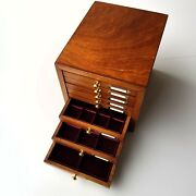 Small Coin Cabinet With 8 Drawers Interior Lined In Velvet For Ancient Coins