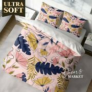 Art Deco Flower Leaf Floral Patterns Quilt Cover Double Bed Single Queen King