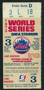 1973 World Series Gm 3 Willie Mays Last Gm Ever Ticket Pass Ny Mets/sf Giants