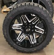 22x10 Vision 363 Razor Black Wheels 33 Mt Tires 6x5.5 Chevy Silverado 1500 Tpm