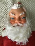 Vintage Large Stuffed Santa Christmas Decoration Toy Rubber Face Boots Hands