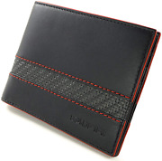 Coldfire Slim Wallet 6 Credit Cards Slots. Black With Accent In Red. Handmade Ge