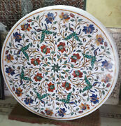 Pietra Dura White Marble Top Table Rare Inlay Antique Mosaic Collectible Az5548