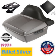Advanblack Billet Silver King Tour Pack Trunk Luggage For 97-20 Harley Touring