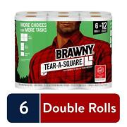 Brawny Tear-a-square Kitchen Paper Towels 6 Double Rolls