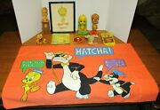 Vintage Looney Tunes Tweety Bird Large Lot 11w/candle+ Bookmark+ornament+patch