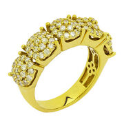 14k Or Jaune Cluster Diamant Bague Hommes 1.75ct Taille 9 8.5 Grammes