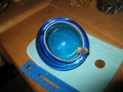 Midcentury 4 Atomic Blue Art Glass Ashtray With Inset Sterling Rope Rim