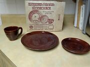 Vintage Marcrest Brown Daisy Dot Stoneware Plate/cup/saucer Set In Original Box