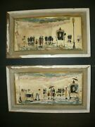 A Pair Of Elmo Gideon 1924-2010 Mid-century Oil Paintings On Board One Signed