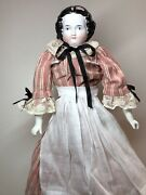 """20"""" Antique German Porcelain China Head Doll Aw Kister High Brow 1860-80's A"""