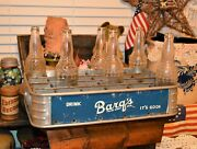 Rare Barqand039s Root Beer Soda 24 Slot Stadium Carrier Case Tray And 6 Vintage Bottles