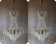 Two Antique Vintage Crystal Chandelier Ornate Matching Pair Of Lighting Pendant
